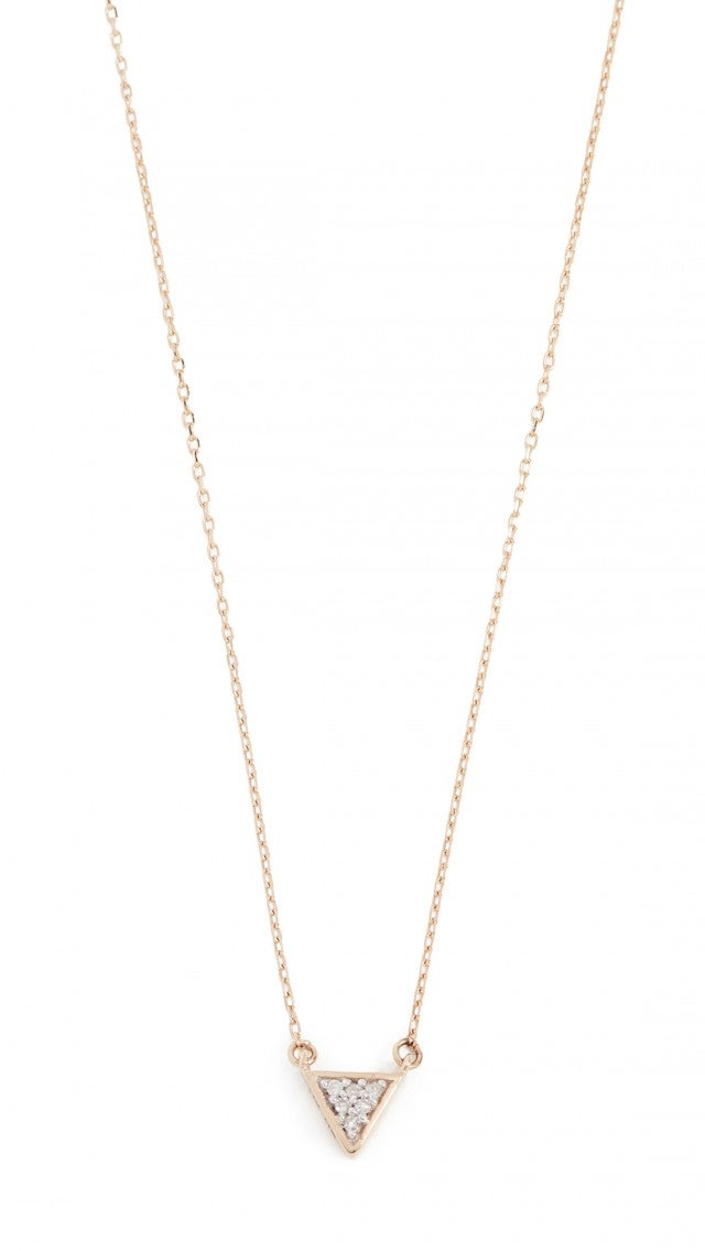 Adina Reyter 14k Super Tiny Solid Pave Triangle Necklace