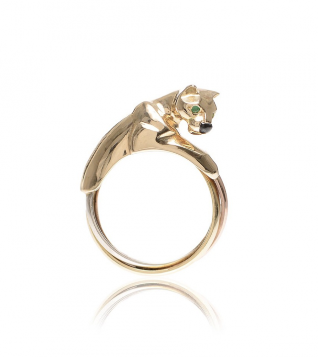 Cartier Panther Onyx Emerald Gold Ring