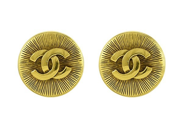 Chanel Large Embossed CC Clip On Earrings