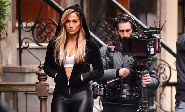 Jennifer Lopez filming Hustlers