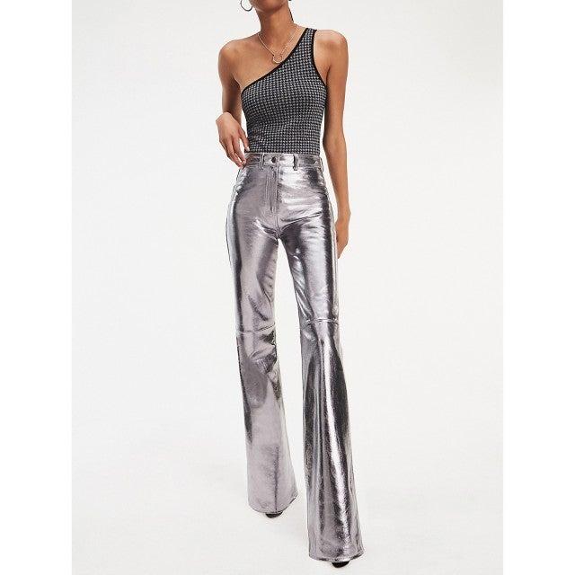 Tommy x Zendaya Metallic Leather Bootcut Trousers