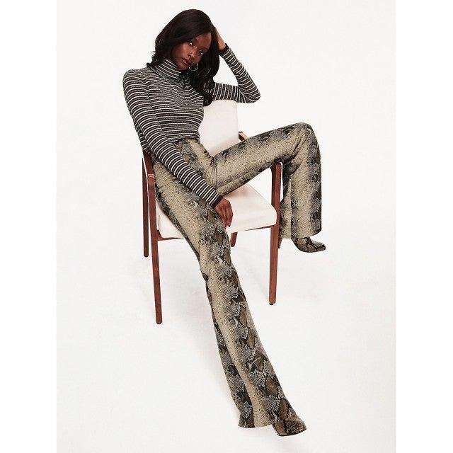 Tommy x Zendaya Snake Print Leather Trousers