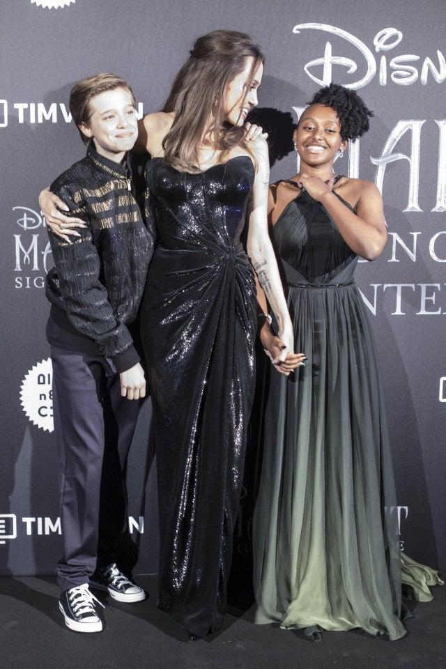 Angelina Jolie Beams With Shiloh And Zahara At Maleficent