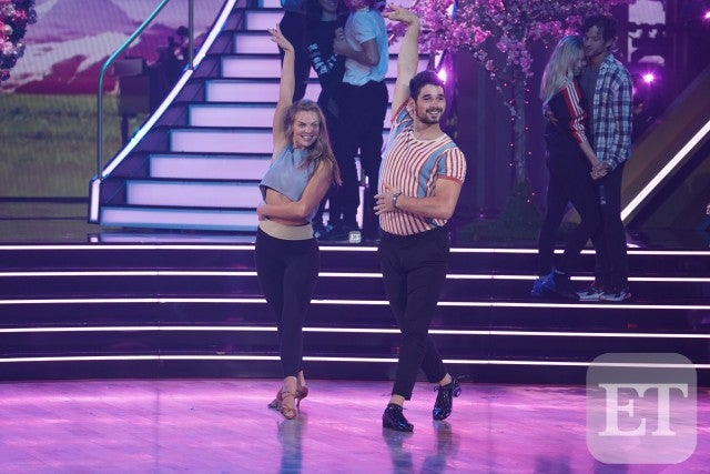 Alan Bersten and Hannah Brown rehearsing for DWTS