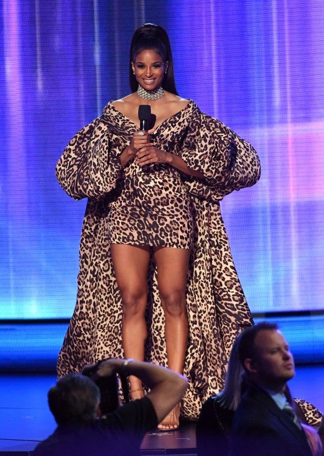Ciara at leopard print puffy sleeve dress
