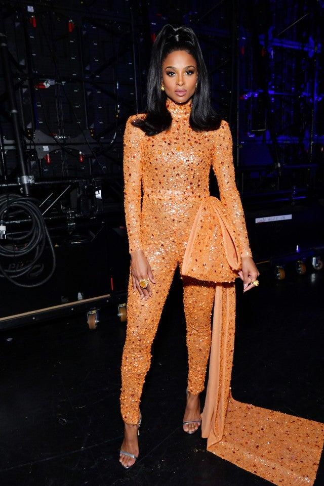 Ciara in sequin orange jumpsuit at 2019 AMAs