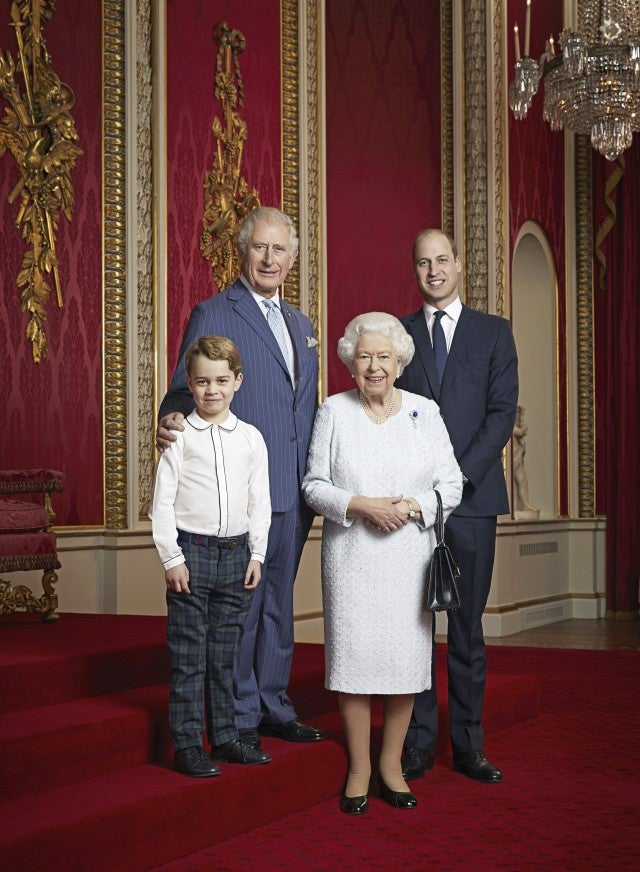 Prince George, Prince Charles, Queen Elizabeth and Prince William