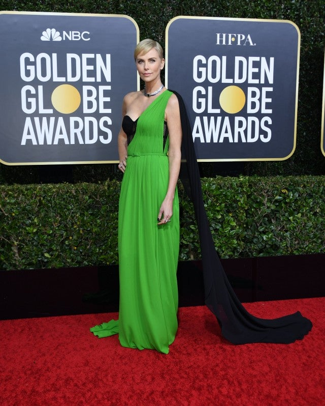 Image result for Golden Globes 2020 Charlize Theron dress