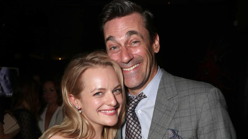 Elisabeth Moss and Jon Hamm at emmys after party