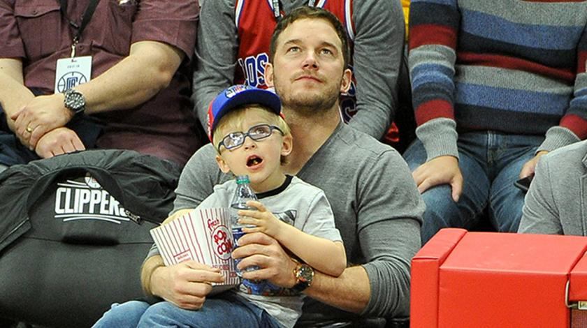 Chris Pratt and Jack at the game