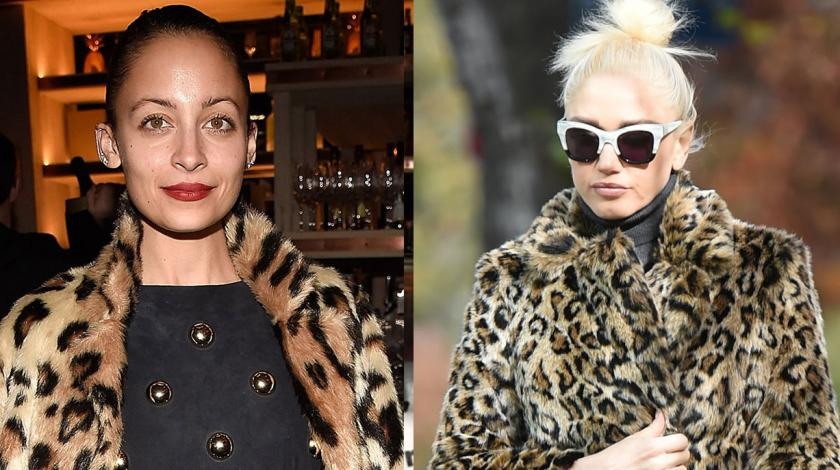 Nicole Richie and Gwen Stefani in leopard coats