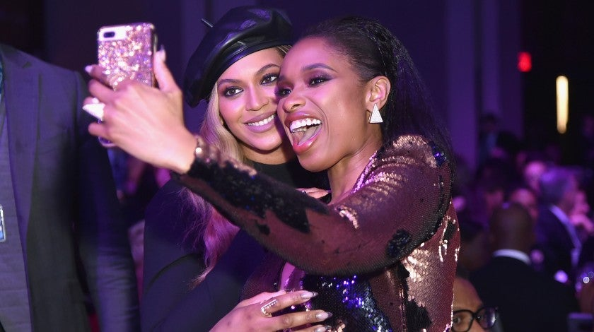 Beyonce and Jennifer Hudson at Clive Davis Party