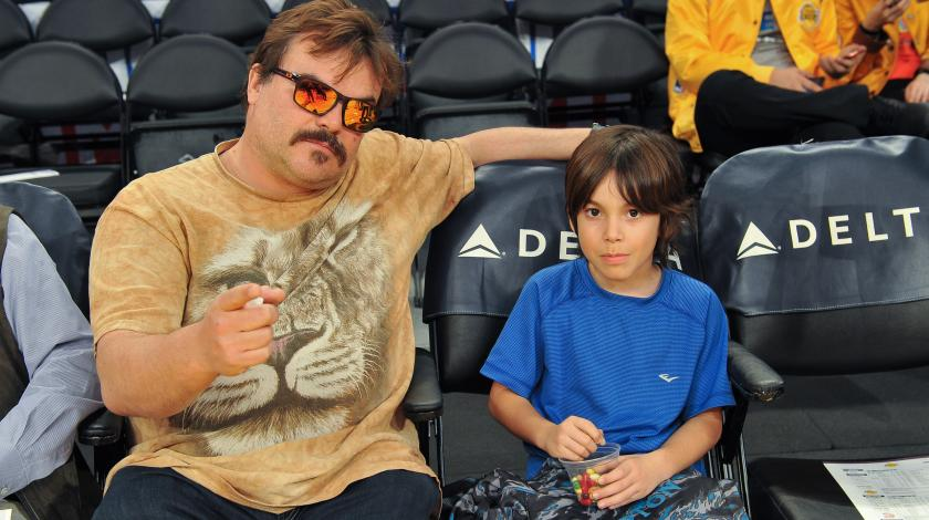Jack Black and son at Los Angeles Lakers game