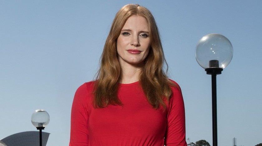 Jessica Chastain in red dress in Sydney