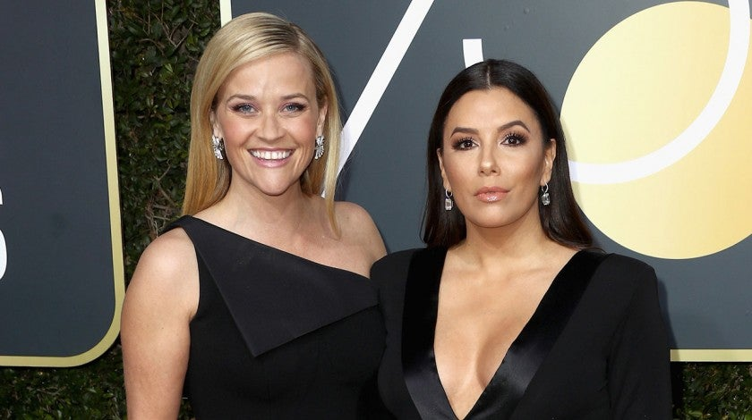 Reese Witherspoon and Eva Longoria at 2018 Golden Globes