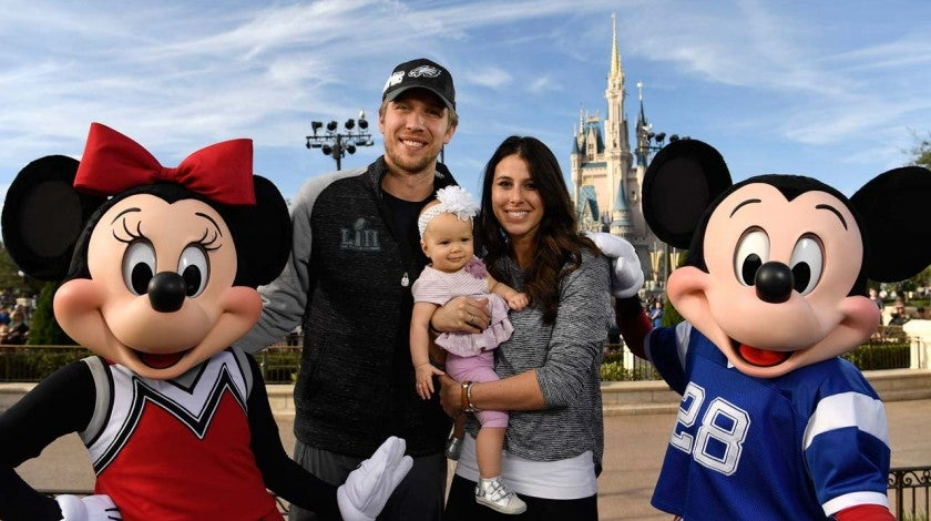 Nick Foles and his family visit Disney World in Florida on Feb. 5