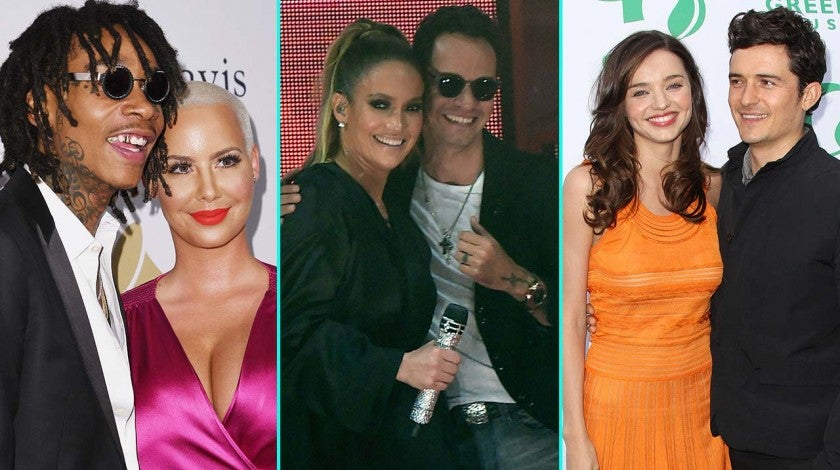 Amber Rose and Wiz Khalifa, Marc Anthony and Jennifer Lopez, Miranda Kerr and Orlando Bloom