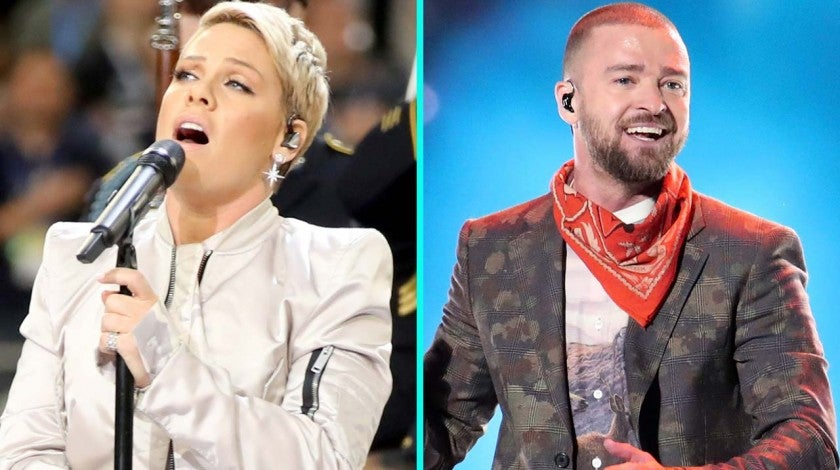 Pink and Justin Timberlake at Super Bowl LII