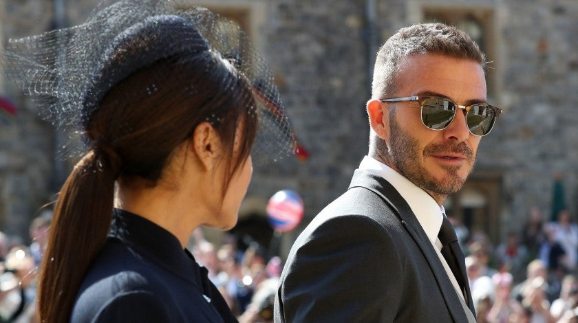 David Beckham with wife at royal wedding