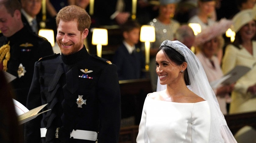 Prince Harry and Meghan Markle at altar