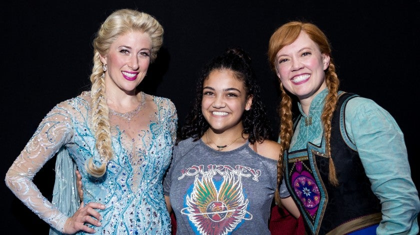 Laurie Hernandez with the stars of 'Frozen'