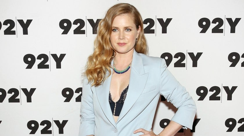 Amy Adams in powder blue pantsuit