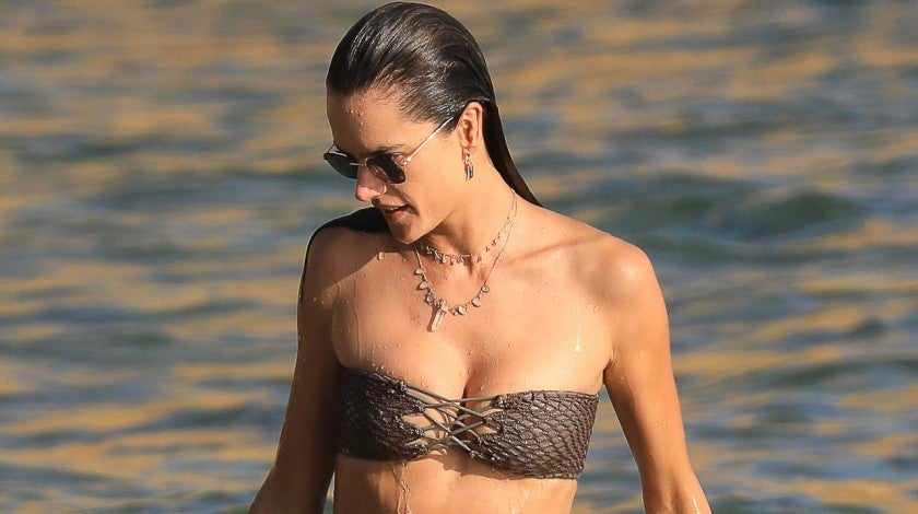 Alessandra Ambrosio on the beach in Ibiza, Spain, on July 8.