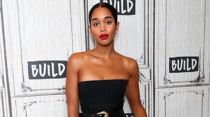 Laura Harrier black jumpsuit