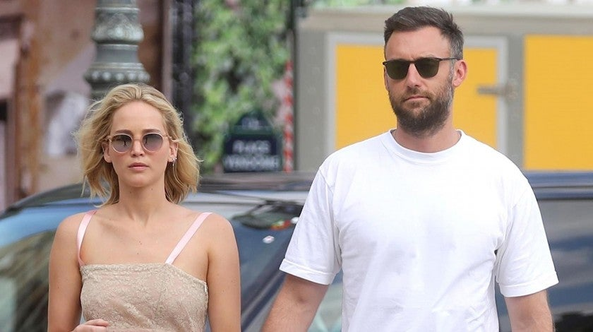 Jennifer Lawrence in pink dress with boyfriend Cooke Maroney
