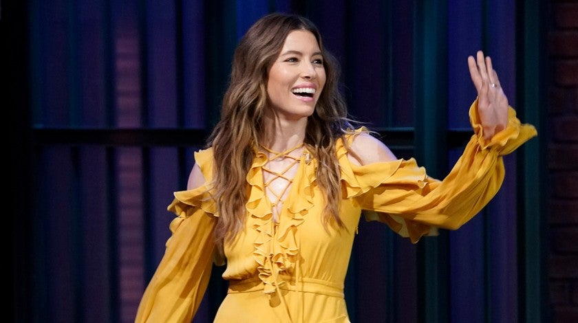 Jessica Biel in yellow dress