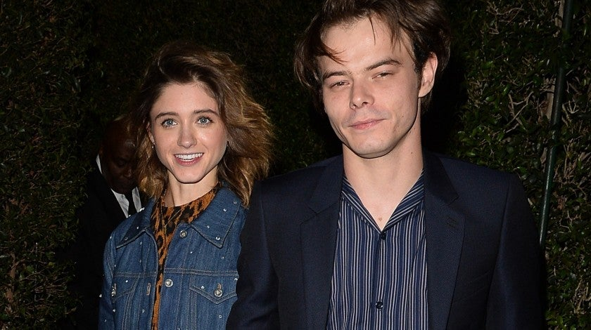 Natalia Dyer and Charlie Heaton at Miu Miu party