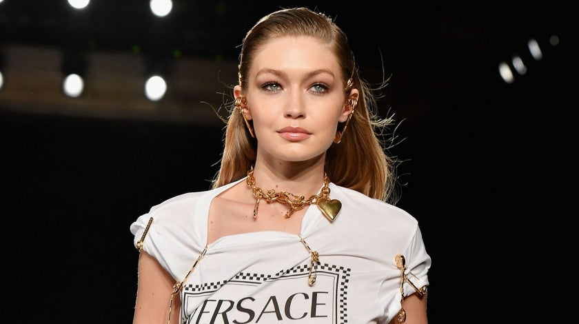 Gigi Hadid on pre-fall 2019 versace runway