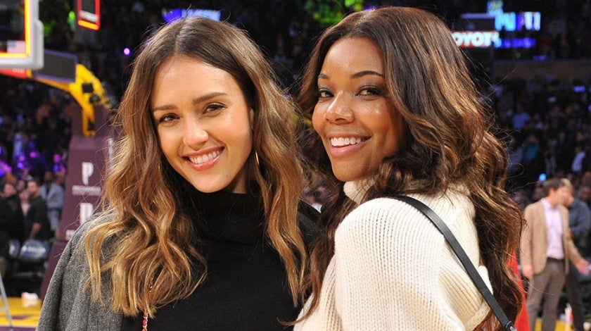 Jessica Alba and Gabrielle Union at Lakers game