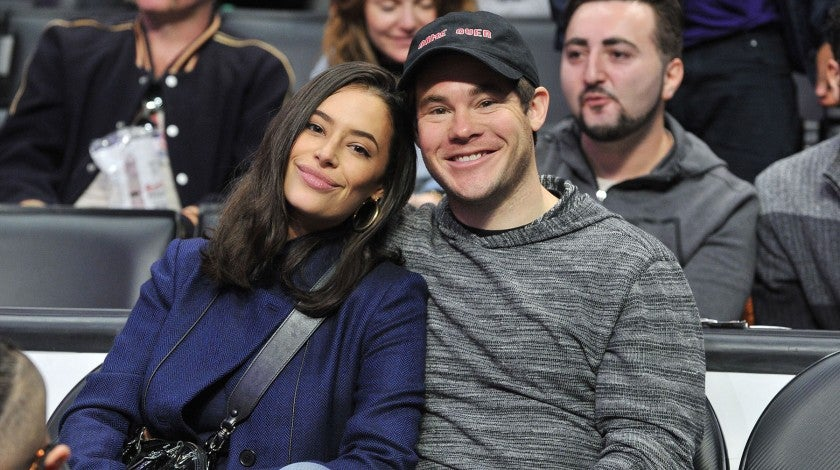 Chloe Bridges and Adam Devine at Clippers game