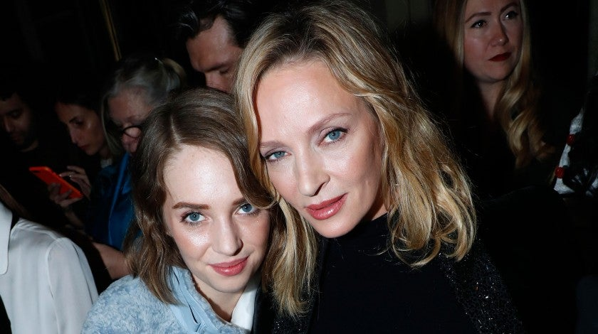 Uma Thurman and daughter Maya at Paris Fashion Week