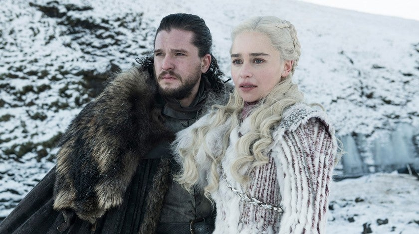 Kit Harington and Emilia Clark in season 8 of Game of Thrones