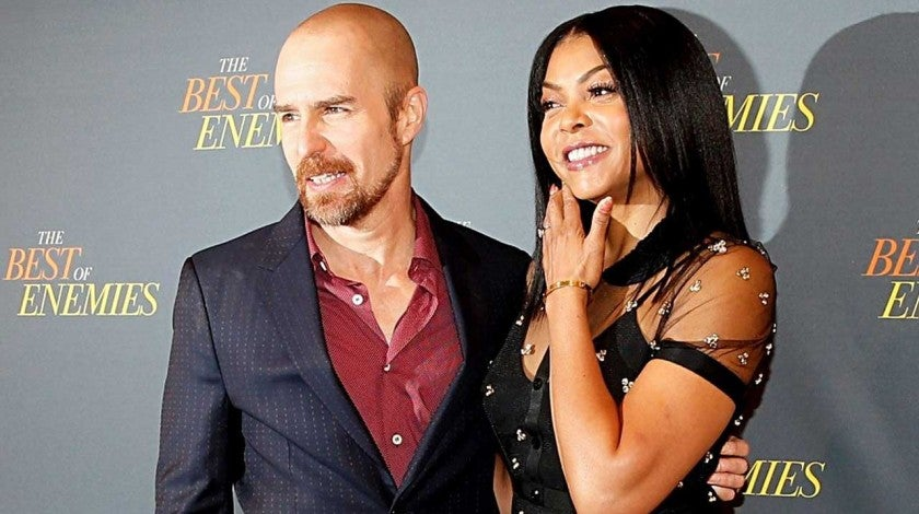 Sam Rockwell and Taraji P. Henson at a photocall for 'The Best of Enemies' in New York on March 17.