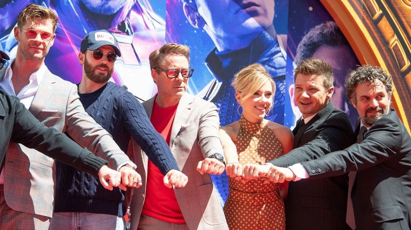 Chris Hemsworth, Chris Evans, Robert Downey Jr., Scarlett Johansson, Mark Ruffalo and Jeremy Renner at hand and footprint ceremony
