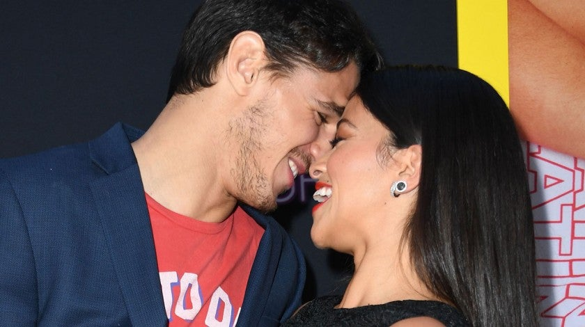 Gina Rodriguez and Joe LoCicero at Netflix's premiere of 'Someone Great'