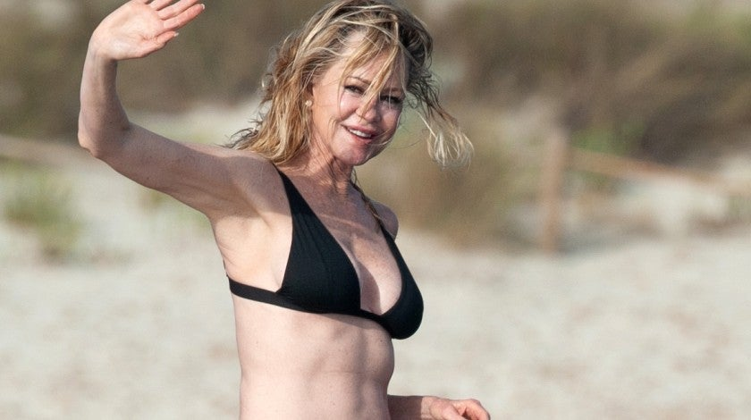 Melanie Griffith on yacht in spain on july 4