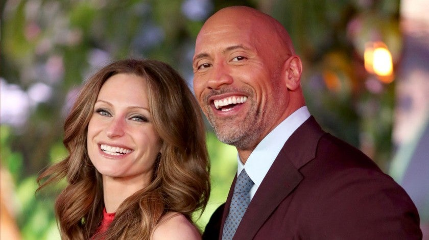 Lauren Hashian and Dwayne Johnson at premiere of Jumanji: Welcome To The Jungle