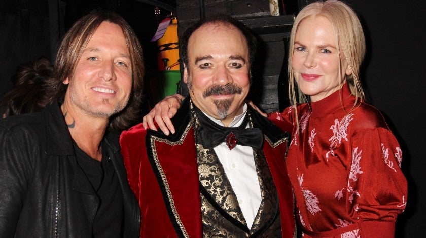 "Keith Urban, Danny Burstein and Nicole Kidman backstage at ""Moulin Rouge"""