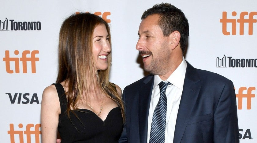 Adam Sandler and wife at Uncut Gems premiere