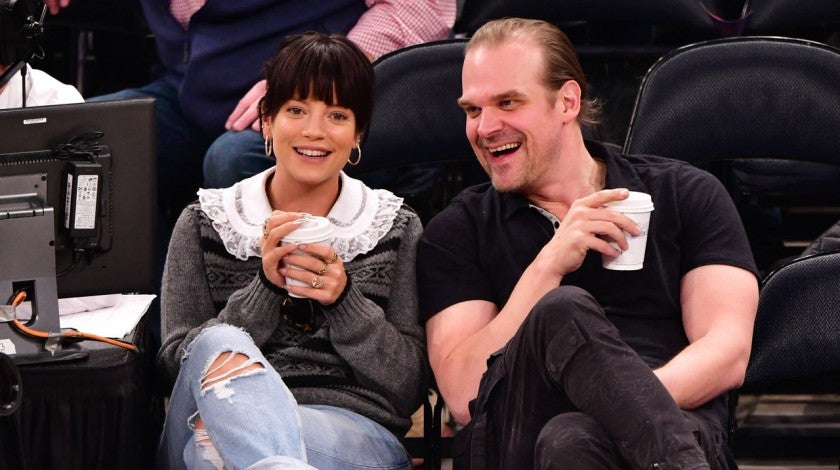Lily Allen and David Harbour at New York Knicks v New Orleans Pelicans preseason game