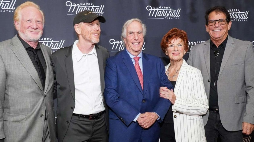 Don Most, Ron Howard, Henry Winkler, Marion Ross and Anson Williams of 'Happy Days' reunite in LA on Nov. 13.