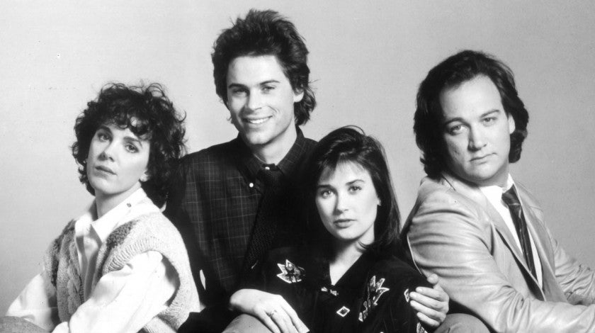 Elizabeth Perkins, Rob Lowe, Demi Moore and James Belushi in publicity portrait for the film 'About Last Night...'
