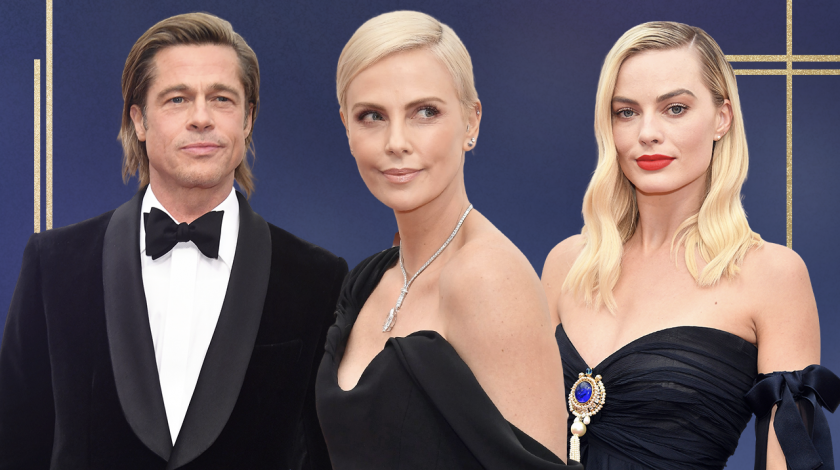 2020 oscars red carpet arrivals: brad pitt, charlize theron, margot robbie