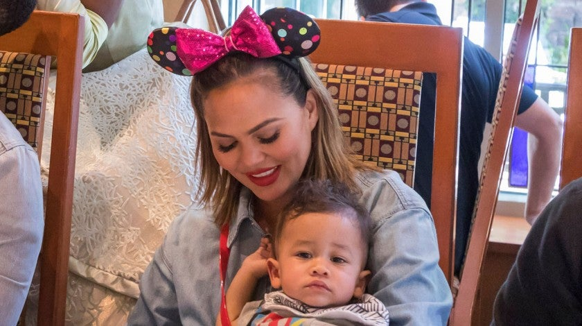 Chrissy Teigen and son Miles at Disney's Grand Californian Hotel in anaheim in april 2019