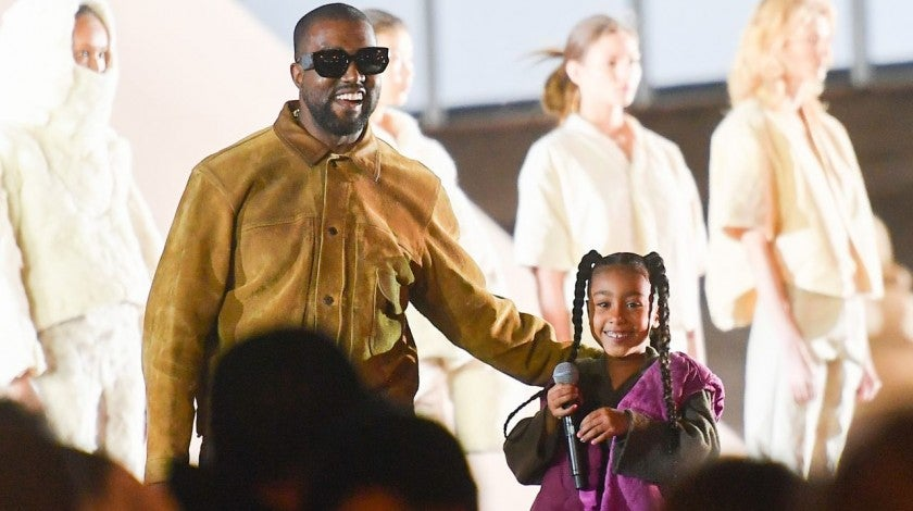 Kanye and North West at Yeezy Fashion Show
