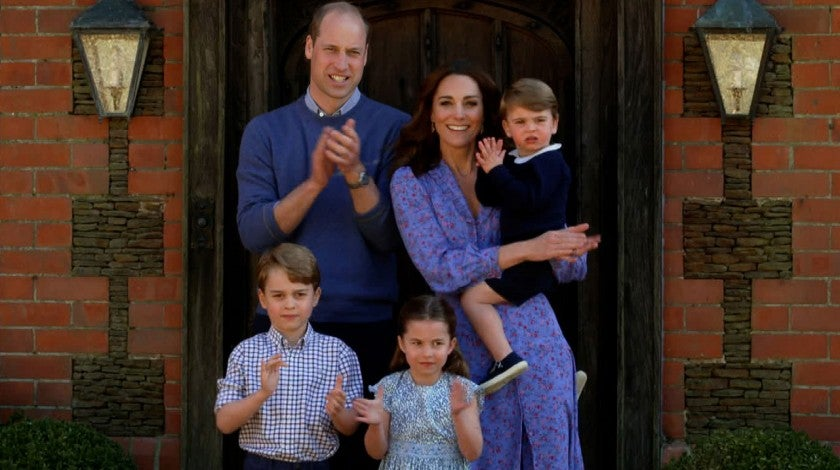 prince william, kate middleton and family in april 2020